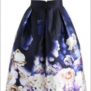 Chic Wish Navy and White Rose Midi Skirt